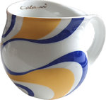 "Colani dekorierte Kaffeetasse ""gold & color"" wave gold / blau"