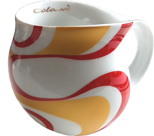 "Colani dekorierte Kaffeetasse ""gold&color"" wave red / rot"